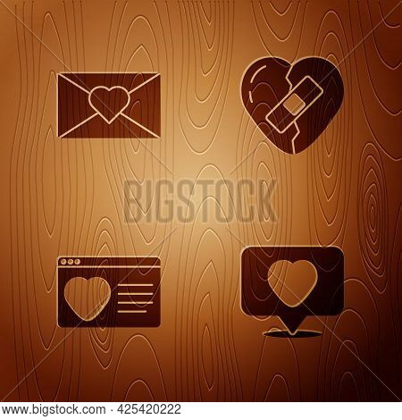 Set Like And Heart, Envelope With Valentine, Dating App Online And Healed Broken On Wooden Backgroun