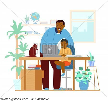 Afroamerican Dad Or Tutor Teaching Son At Home. Homeschooling Concept. Working Place Interior. Flat