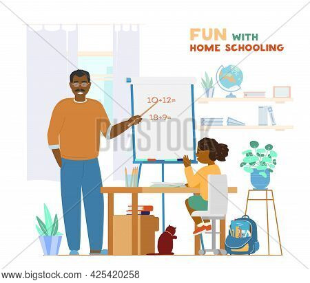 Afroamerican Dad Or Tutor Teaching Child At Home Using Pointer And Flipchart. Homeschooling Concept.