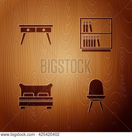 Set Chair, Office Desk, Big Bed And Library Bookshelf On Wooden Background. Vector