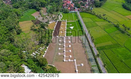 Aerial View Of At Svargabumi Borobudur. Seeing The Green Rice Fields. Central Java, Indonesia, July
