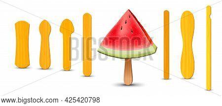 Set Of Realistic Popsicle Sticks. Watermelon Piece On Popsicle Stick. Vector Illustration, Summer Se