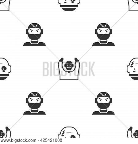 Set Bandit, Thief Surrendering Hands Up And Mask On Seamless Pattern. Vector
