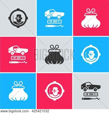Set Headshot, Car Theft And Wallet Icon. Vector