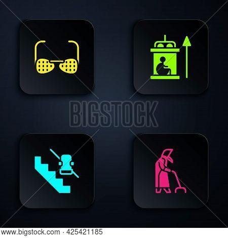 Set Grandmother, Blind Glasses, Disabled Elevator And Elevator For Disabled. Black Square Button. Ve