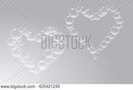 Set Of Soap Foam Pieces Shaped As Heart. Vector Realistic Soap Suds. Valentine Day Symbol. Transpare