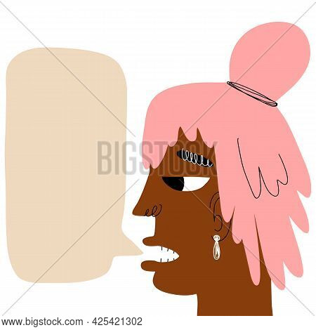 Young Woman, Teenager Manifesting, African Girl With Pink Hair Speaking. Trendy Hand-drawn Character