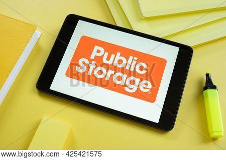 Kyiv, Ukraine - June 30, 2021. Public Storage Logo On The Screen Of Tablet. Editorial.