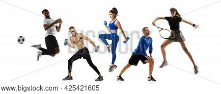 Sport Collage. Tennis, Fitness, Soccer Football Players In Action Isolated On White Studio Backgroun