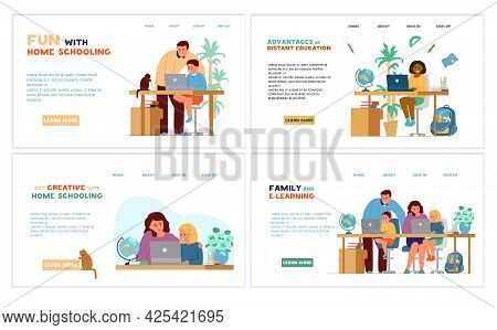 Homeschooling Or Online Education Website Template Set. Kid Seats At Table With Laptops With Parent