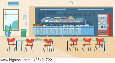 School Canteen Interior. Kitchen, Vending Machine, Trash Can, Tables With Chairs, Menu, Hand Sanitiz