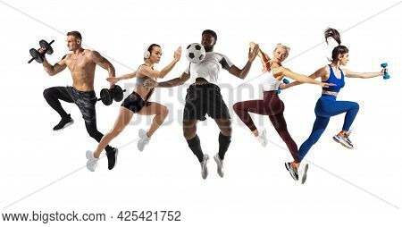Sport Collage. Running, Fitness, Soccer Football Players In Action Isolated On White Studio Backgrou