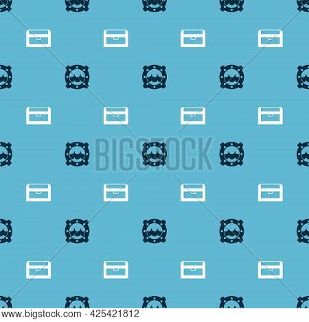 Set Ship Porthole With Seascape And Antique Treasure Chest On Seamless Pattern. Vector