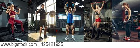 Muscular Young Female And Male Athlete, Collage With The Different Photos Of Models. Caucasian Woman