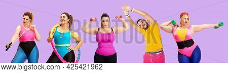 Collage Of Photos Of Plus-size Women And Man Isolated On Pink Studio Background. Concept Of Fitness,