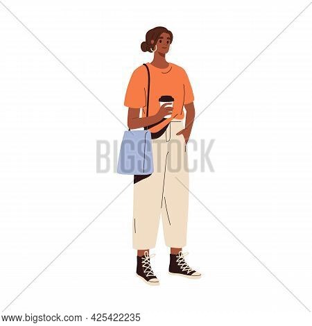 Woman Wearing Casual Sports Clothes. Sporty Summer Look With Sneakers And T-shirt. Female In Modern
