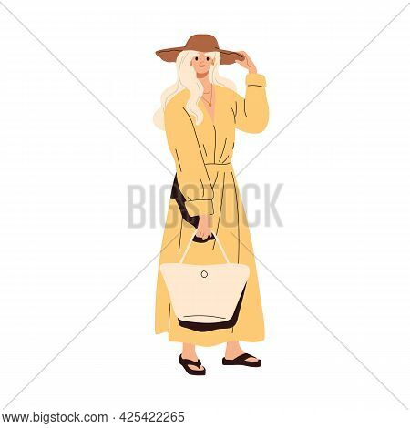 Modern Woman Wearing Fashion Summer Clothes And Bag. Blonde Female In Stylish Maxi Dress, Flip Flops