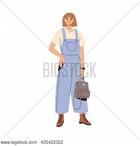 Modern Woman Wearing Summer Fashion Clothes. Trendy Casual Outfit With Loose Denim Overalls, T-shirt