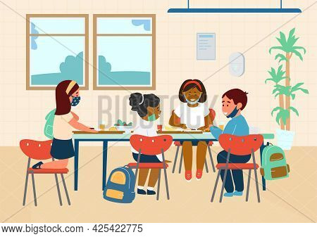 Different Races Elementary School Pupils In Protective Masks Having Lunch In School Cafeteria. New N