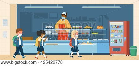 Vector School Canteen With Different Races Pupils In Protective Masks Standing In Line To Take. Scho