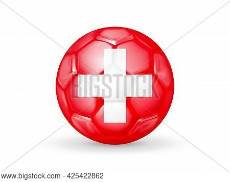 3d Soccer Ball With The Switzerland National Flag. Switzerland National Football Team Concept. Isola