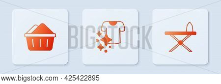 Set Drying Clothes, Basin With Soap Suds And Iron And Ironing Board. White Square Button. Vector