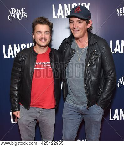 LOS ANGELES - JUN 21: Emile Hirsch and Lukas Haas arrives for the 'Lansky'  Hollywood Premiere on June 21, 2021 in Los Angeles, CA