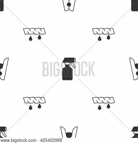 Set Clothes Pin, Water Spray Bottle And Squeeze Clothes On Seamless Pattern. Vector