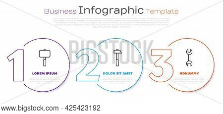 Set Line Sledgehammer, Hammer And Wrench Spanner. Business Infographic Template. Vector