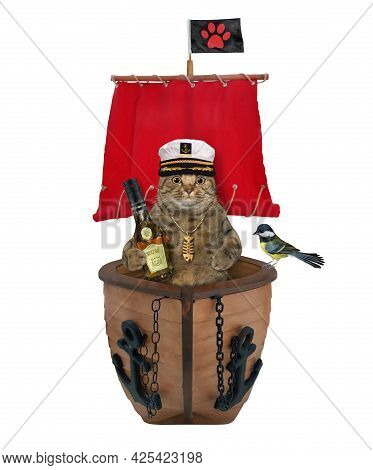 A Beige Cat Captain In A Sailor's Hat With A Bottle Of Rum Is On A Sailboat With A Red Sail. White B