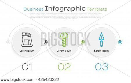 Set Line Cement Bag, Metallic Screw And Trowel. Business Infographic Template. Vector