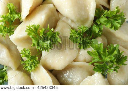 Concept Of Tasty Food With Vareniki Or Pierogi, Close Up
