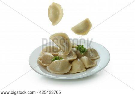 Plate Of Vareniki Or Pierogi Isolated On White Background