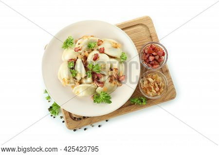 Concept Of Tasty Food With Vareniki Or Pierogi Isolated On White Background