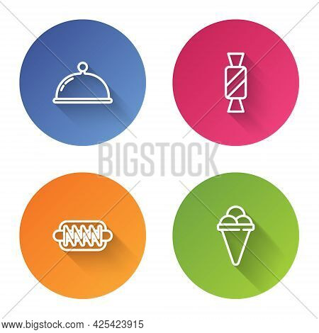 Set Line Covered With Tray, Candy, Hotdog Sandwich And Ice Cream In Waffle Cone. Color Circle Button