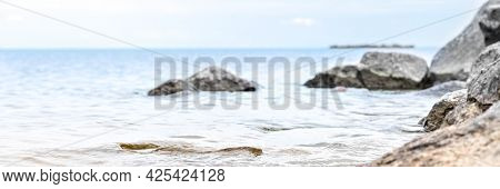 Granite Stones In The Water On The Shore Of The Gulf Of Finland
