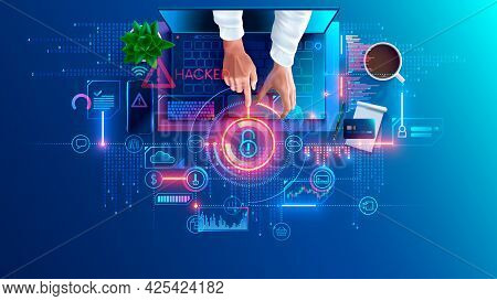 Hacked Laptop By A Hacker. Hacker Hacking Computer, Broke Password And Attack Internet Security Syst
