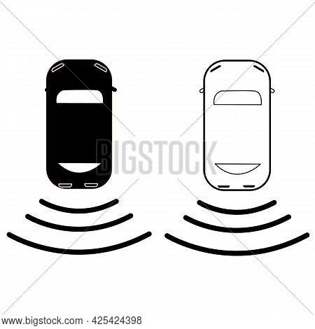 Car Backup Camera Icon On White Background. Car Icon With Backup Camera. Flat Style.