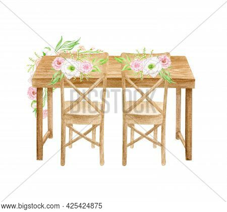 Watercolor Wedding Table With Flower Arrangement Back View Illustration. Hand Painted Wood Sweethear