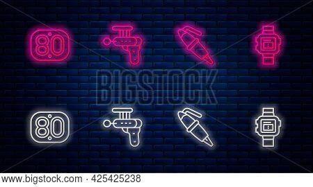 Set Line Ray Gun, Fountain Pen Nib, 80s Retro And Wrist Watch. Glowing Neon Icon On Brick Wall. Vect