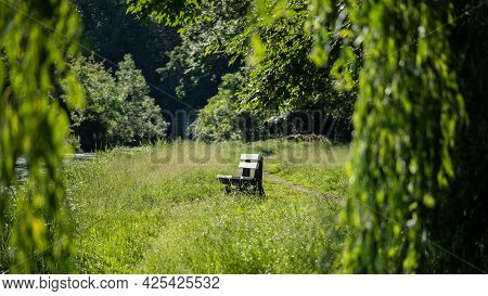 Bench On A Sunny Morning. Concept Silence, Emptiness, Absence, Fabulous