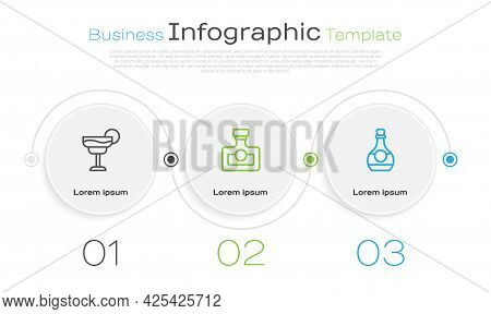 Set Line Cocktail, Alcohol Drink Rum And Bottle Of Cognac Or Brandy. Business Infographic Template.