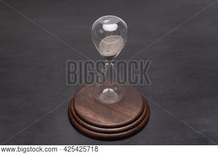 Urgency And Outcome Of Time. Hourglass On Stand. Time Management Concept