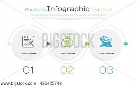 Set Line System Bug, Money Bag And Car Theft. Business Infographic Template. Vector