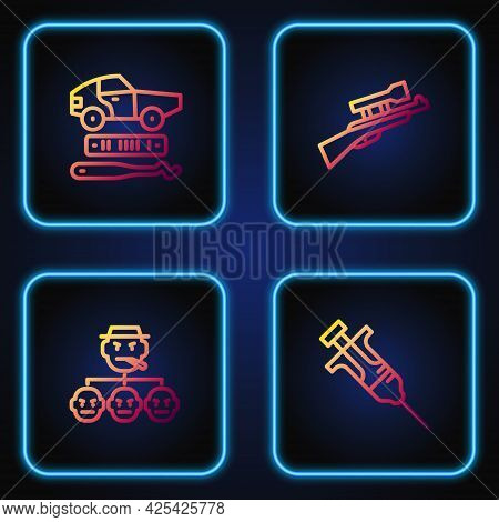 Set Line Syringe, Mafia, Car Theft And Sniper Rifle With Scope. Gradient Color Icons. Vector