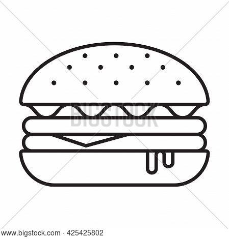 Burger Outline Icon Vector Hamburger, Cheeseburger Symbol For Graphic Design, Logo, Web Site, Social