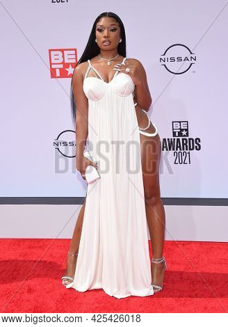 LOS ANGELES - JUN 27:  Megan Thee Stallion {Object} arrives for the 2021 BET Awards on June 27, 2021 in Los Angeles, CA