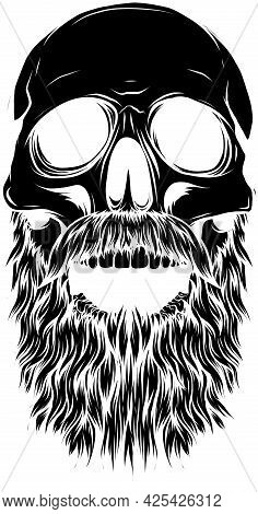 Black Silhouette Bald, Bearded Hipster Skull Vector