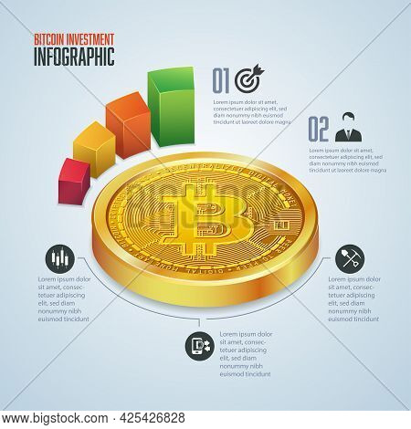 Infographic Of Cryptocurrency Investment, Graphic Of Golden Bitcoin In Perspective View With Financi