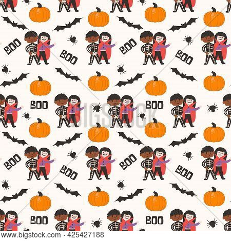 Halloween Kids Costume Party Seamless Pattern. Children In Skeleton And Vampire Costume . Vector Ill